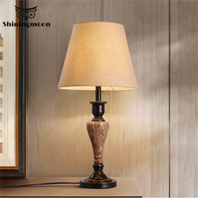 Chinese Classical Fabric Table Lamp Modern Led Resin Lights Office Reading Desk Bedroom Bedside Decorative Lighting