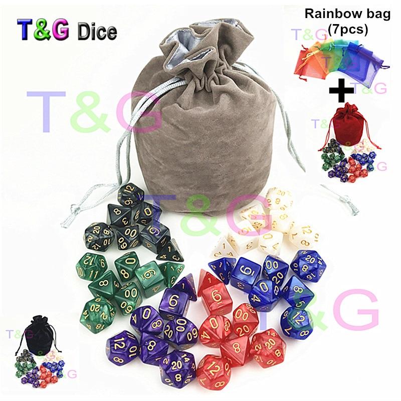 T & g alta qualidade pearlized efeito dnd conjuntos de dados 7 pçs * 6 conjuntos d4 d6 d8 d10 d10 % d12 d20 com saco de veludo para rpg