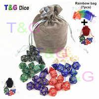 T & G-juego de dados DnD de efecto perlado de alta calidad, 7 Uds. X 6 juegos, D4 D6 D8 D10 D10 % D12 D20 con bolsa de terciopelo para Rpg