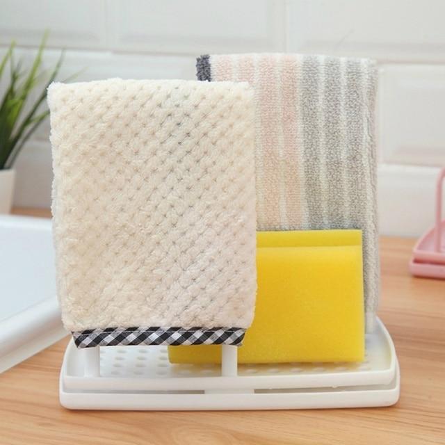 Kitchen Desktop Rag Rack Multi-Function Dish Cloth Drain Free Punching Sponge Soap Shelf Storage Holders Racks dish drainer 5