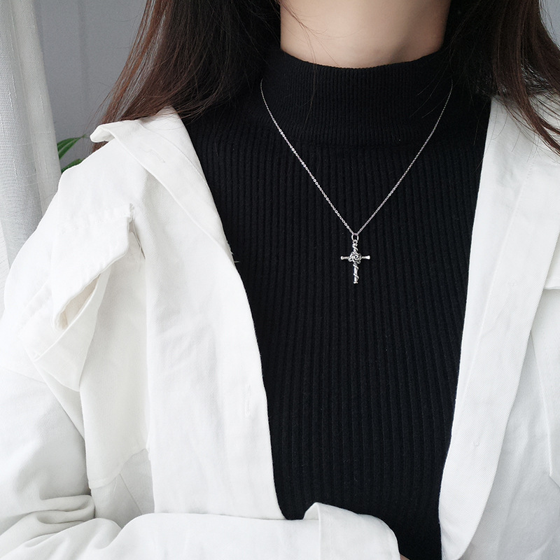 Hd8cb9c22d8eb4a418d27bfef521c99407 - Vintage Do Old Rose Cross Pendant Necklace S925 Sterling Silver Personality Trend Female Collarbone Chain