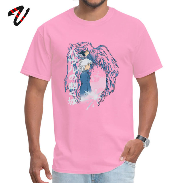 Anime Tshirt A Heart's Love Men T-shirt 100% Cotton Fabric Howl's Moving Castle T Shirt Short Sleeve Japan Style Clothes Summer