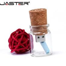 Jaster Glas Drift Fles Met Kurk Usb 2.0 Flash Drive (Transparant) pendrive 4G 8G 16Gb 32Gb 64Gb Fashion Huidige Fles Gift