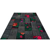 Black Patchwork Carpet Rose Design Handmade Carpet hhp117