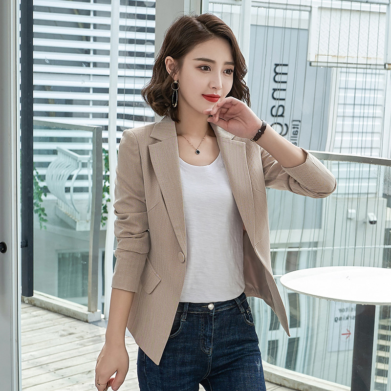 Elegant Slim Women's Blazer Office Suit 2019 New Early Autumn Casual One Button Herringbone Pattern Ladies Jacket Large Size