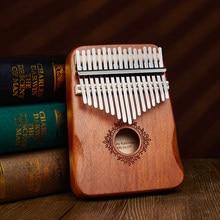 Piano à pouces Kalimba de 17 touches, en bois d'acajou, Instruments musicaux avec livre d'apprentissage cadeau de Noël