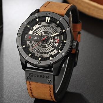Curren 8301 Mens Watches Men Date Leather Creative Quartz Wrist Watches With Box