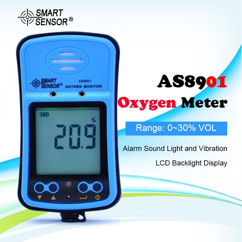 SENSOR inteligente AS8901 medidor de oxígeno portátil de Control antidisturbios analizador de Gas O2 probador Monitor Detector de oxígeno Medición de concentración