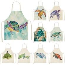 Kitchen Apron Adult Bibs Cook-Wear Linen Cleaning-Art Color-Pattern Cotton 1pcs 53--65cm