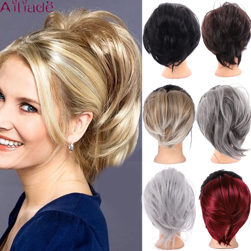 AILIADE Natural Hair Chignon Heat Resistant Synthetic Donut Straight Hair Bun Pad Popular High Side Bun Trendiest Updos For Hair