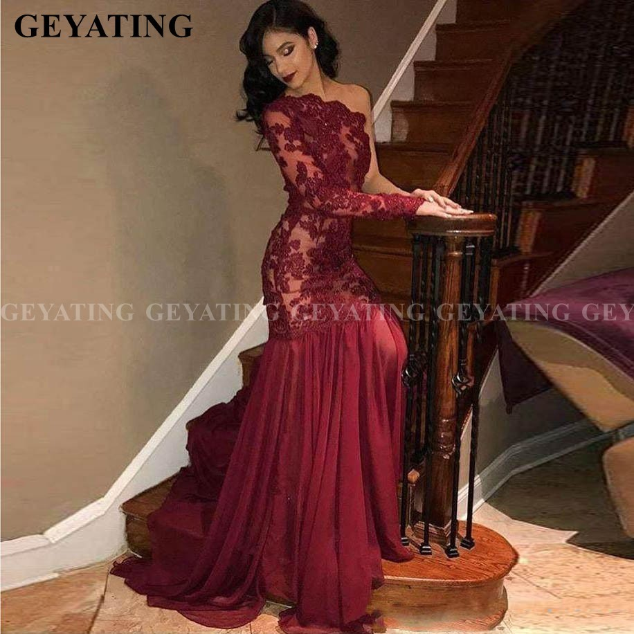 Elegant One Shoulder Mermaid Burgundy Prom Dresses Long Sleeve Lace Appliques Arabic Evening Gowns Long Train Formal Gala Dress