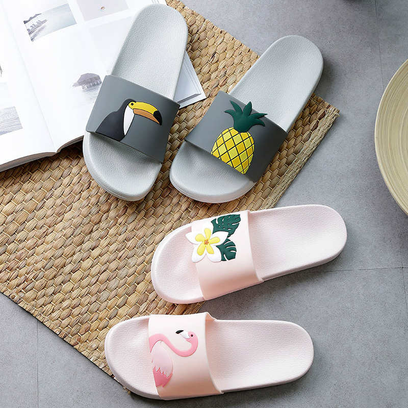 Cute Flamingo Summer Women Slippers Cartoon Ladies Slides House Shoes Black Pink Flip Flops Non-slip EVA Soft Girl Home Slippers