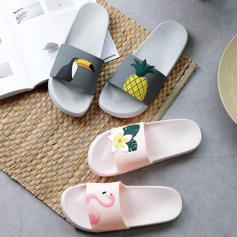 Cute Flamingo Summer Women Slippers Cartoon Ladies Slides House Shoes Black Pink Flip Flops Non-slip EVA Soft Girl Home Slippers