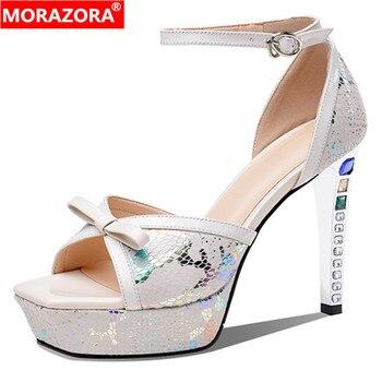 MORAZORA 2020 hot sale sexy party wedding shoes women sandals bowknot buckle crystal super high heel platform sandals ladies