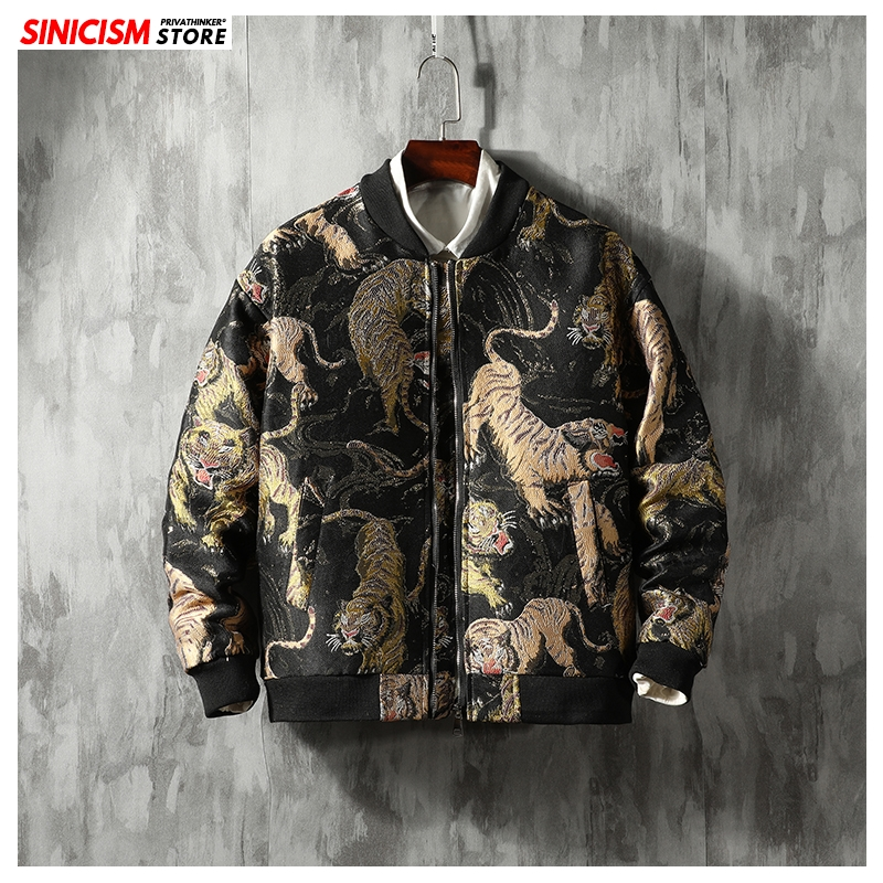 Sinicism Store Men Loose Embroidery Jacket Men Chinese Style Streetwear Tops 2020 Male Autumn Spring Casual Zipper Coats 5XL New