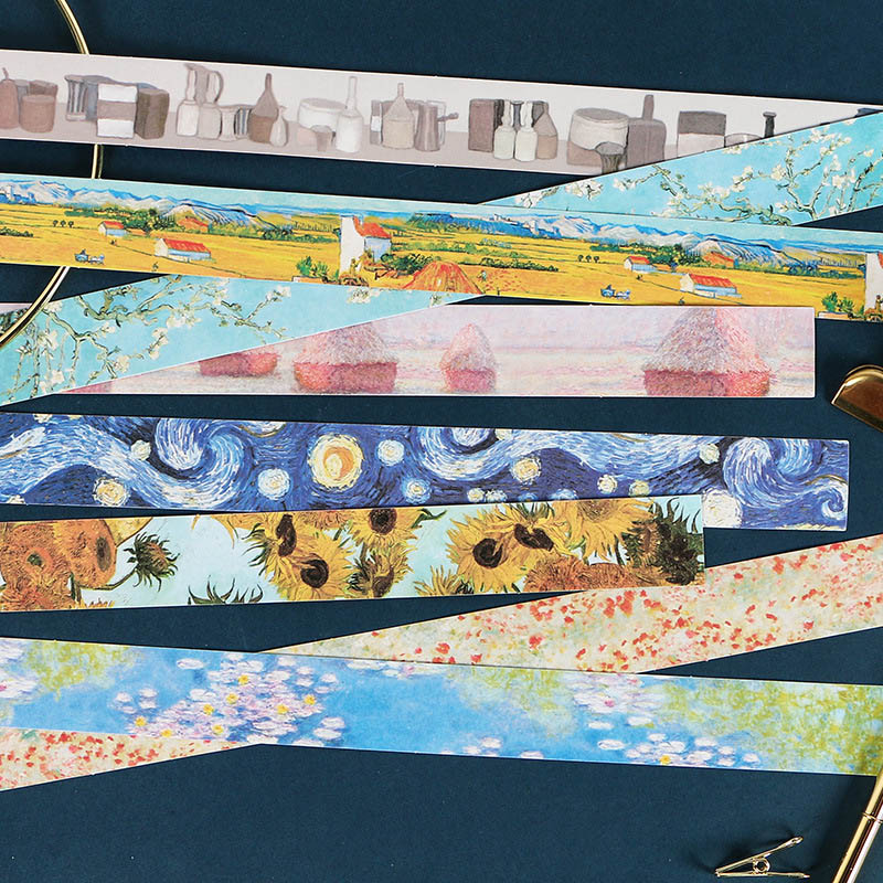 1Pc Creative Van Gogh Washi Tape Kawaii Decorative Adhesive Sticker Cute Masking Tapes For Kids Scrapbooking DIY Photos Albums