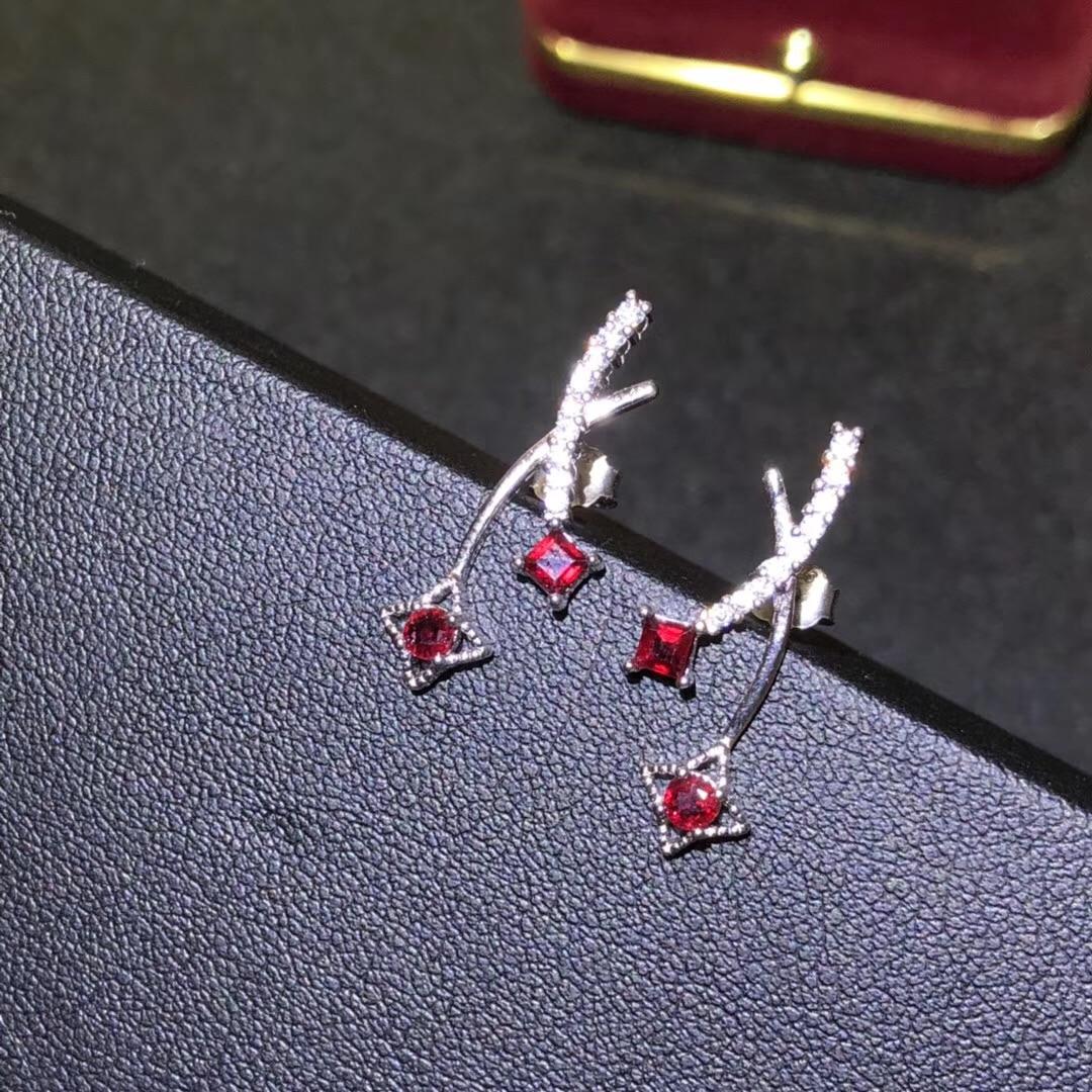 BOEYCJR Ruby Stars S925 Sterling Silver  Creative Fine Jewelry Party Jewelry Elegant Stud Earrings For Women Gift