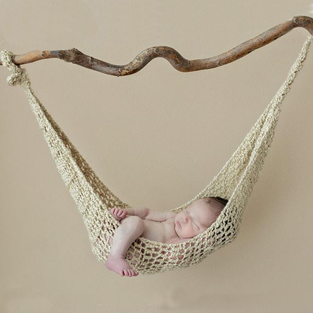 Solid Color Newborn Baby Crochet Knit Hammock Hanging Cocoons Bed Photo Props