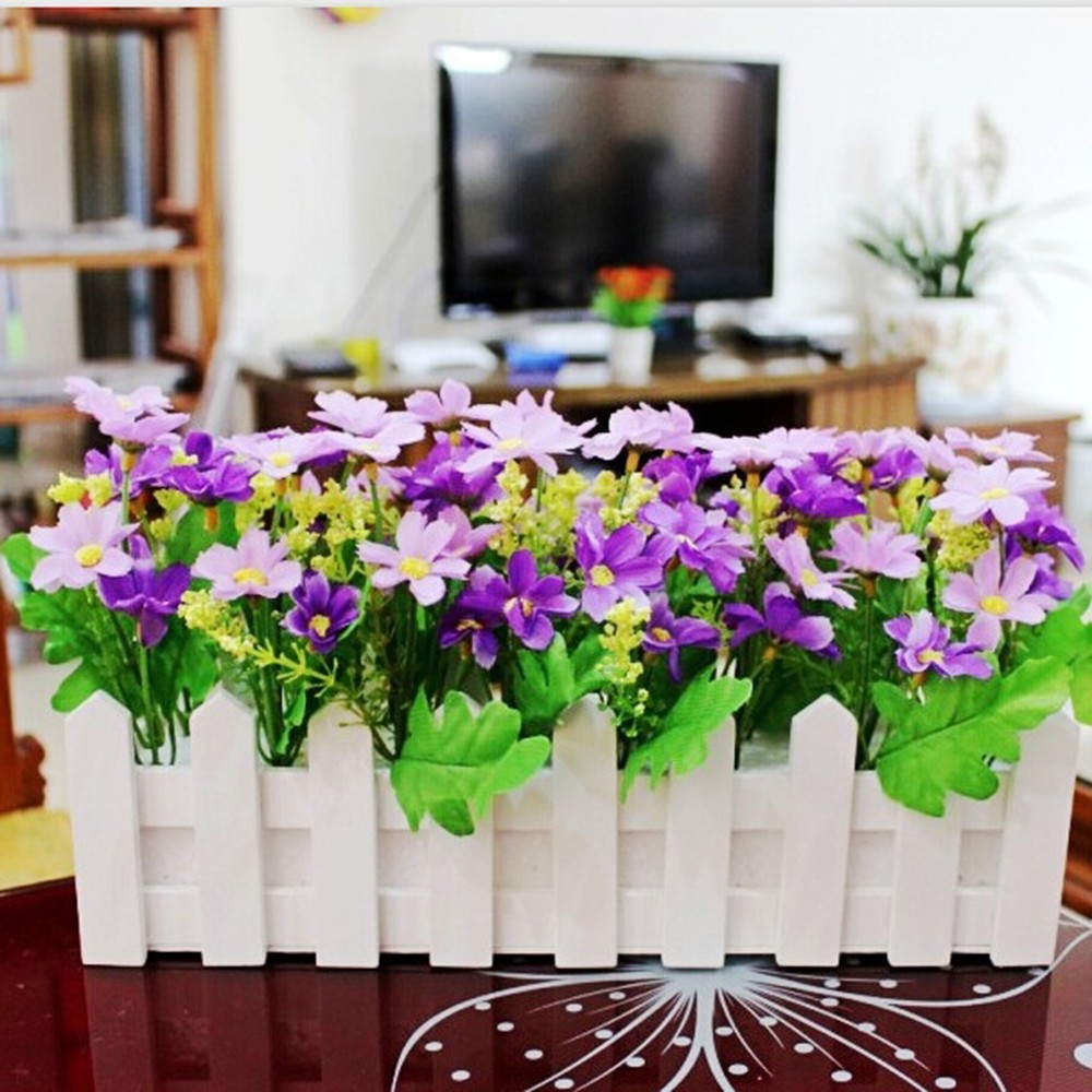 30Cm Wood Fence Garden Set Wholesale Simulation Flower Fake Flower Wholesale Living Room Household Decoration Hot Sale in Artificial Dried Flowers from Home Garden