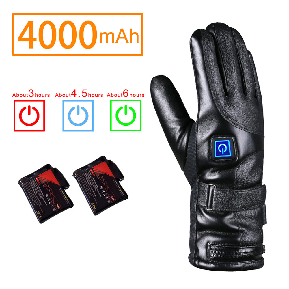 PU Leather Electric Heated Gloves Winter Warmer With Rechargeable Battery USB Charging Gloves For Motorcycle