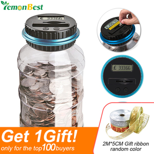 1.8L Piggy Bank Counter Coin Electronic Digital LCD Counting Coin Money Saving Box Jar Coins Storage Box For USD EURO GBP Money(China)