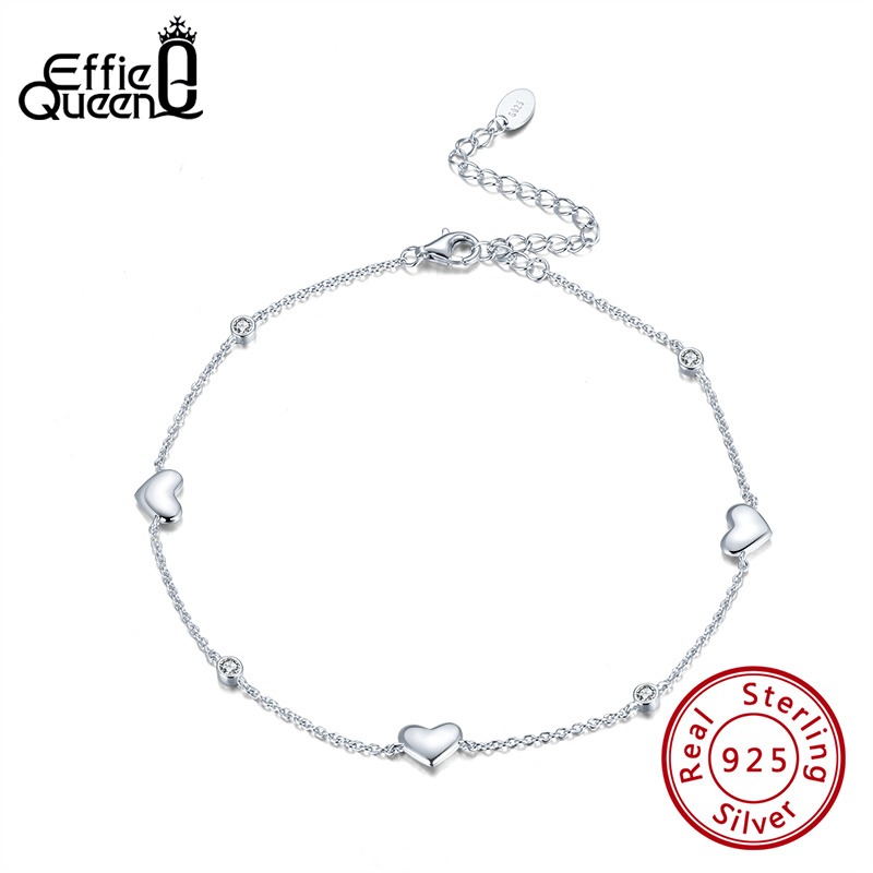 Effie Queen Romantic Love Heart Shape Anklets 100% 925 Silver for Mother Wife Birthday Wedding Gift Leg Chain Jewelry SA01