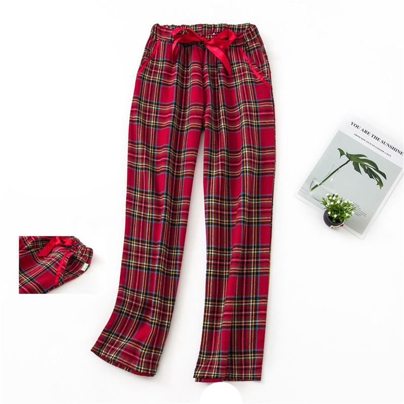 100%Cotton Sleep Bottom Women Long Pant Home Pajamas Soft Slip Winter Pants Drawstring Big Size Sexy Plaid Casual Sleepwear