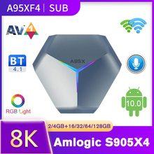 A95X F4 SUBTV Smart TV Box Android 10 Amlogic S905X4 RGB Light Smart Android TV Box 8K UHD Media Player 2.4G/5G WiFi Set-top Box