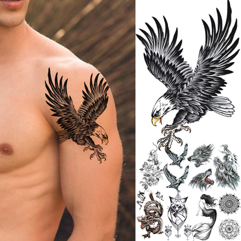 3D Fake Bald Eagle Realistic Temporary Tattoos For Men Boy kids Old Wolf Dragon Cat Mermaid Tattoo Stickers Flower Tatoos Arm image