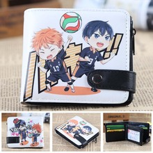 Anime Haikyuu!! Chibi Hinata Syouyou & Kageyama Tobio PU Leather Short Small Thin Kawaii Wallet Coin Men Slim Purse 2019 Fashion tobyfancy haikyuu action figures nendoroid hinata syouyou kageyama tobio figure pvc 10cm anime volleyball figures haikyuu