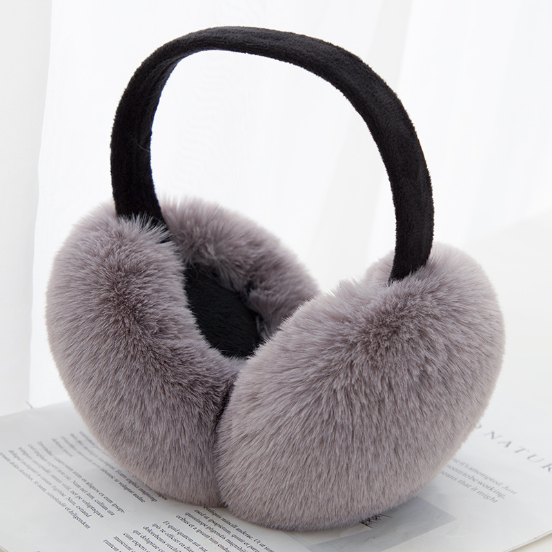 2019 Solid Women Foldable Winter Earmuffs Faux Fur Hamburger Ear Warmer Plush Headgear Fur Headphones Ear Muffs -80