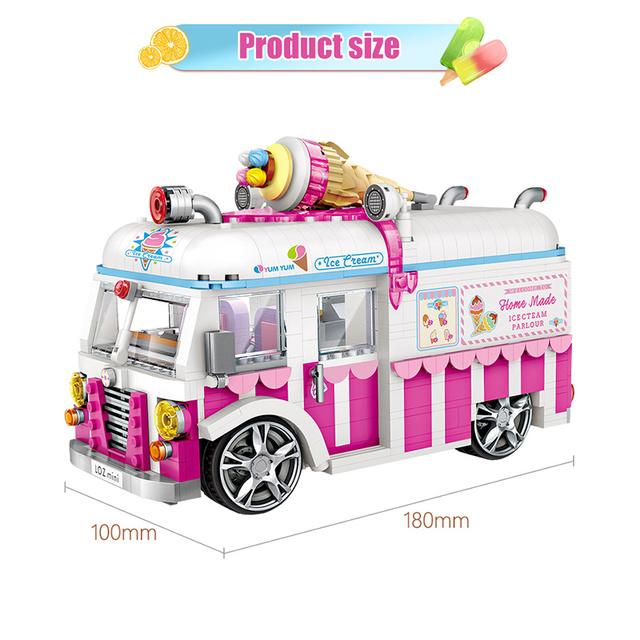 1244pcs Creator Friends Bricks Pink Ice Cream Car Mini Building Blocks Cake Bus Dining Car Truck Model Toys for Girls