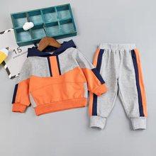 Criança menino roupas conjunto para a menina casual moda retalhos bebê menino t camisa + calças 1 2 3 4y