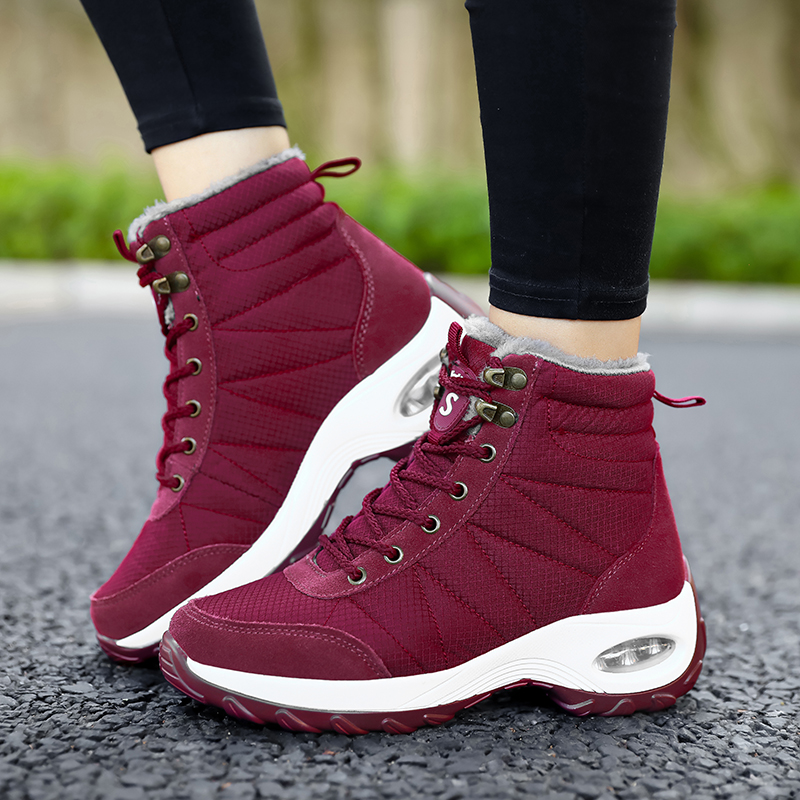Winter Shoes Woman Snow Boots Warm Fur Plush Insole Boots Flock Ankle Boots Women Shoes Lace-up Lightweight Sneakers Women 14