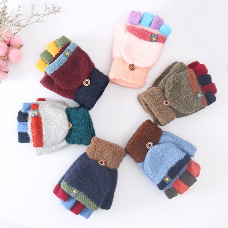 Winter New Cute Children's Warm Gloves Cartoon 6-12 Years Old Primary School Cashmere Knit Flip Half Finger Gloves