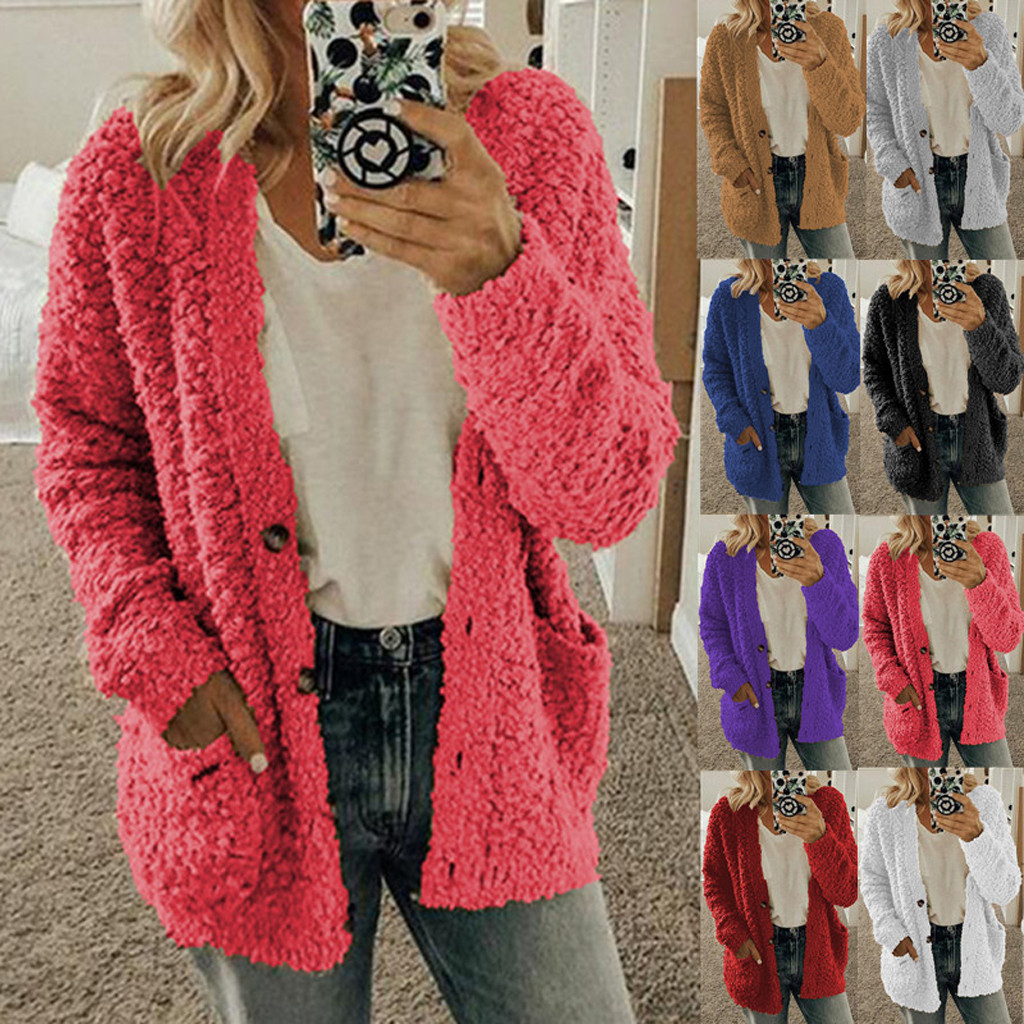 2019 Women Autumn Winter Sweaters Tops Coat Fashion Women Casual Long Sleeve Button Solid Pocket Cardigan Tops Blouse Coat