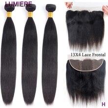 Lumiere peruano cabelo reto 13x4 laço frontal com pacotes