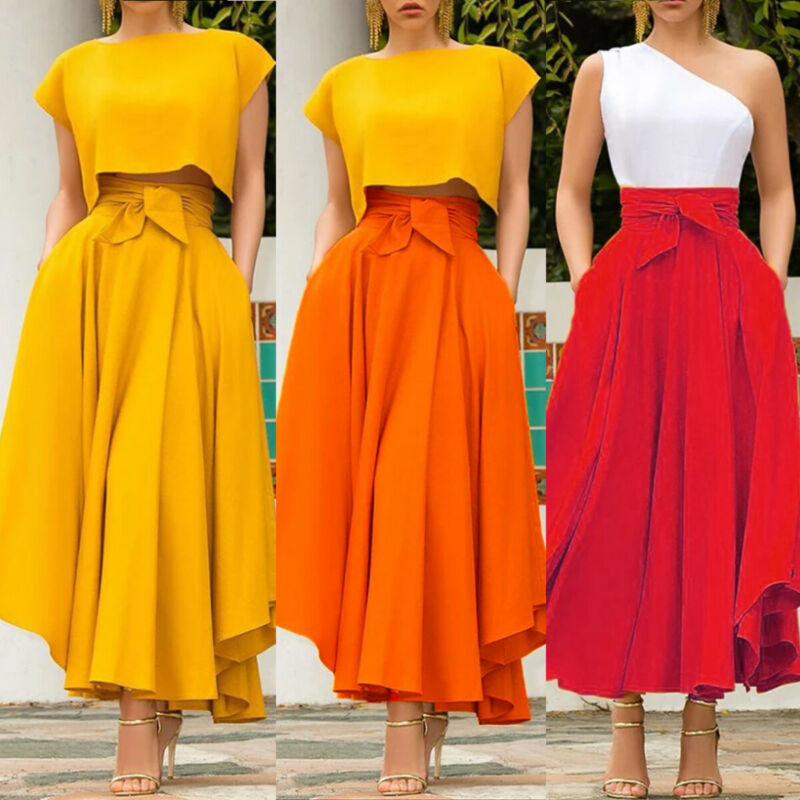 Fashion Women High Waist Flared Pleated Long Skirt Gypsy Maxi Skirt Full Length