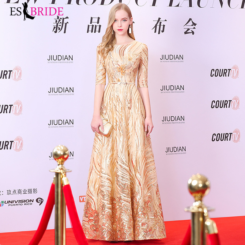 Gold Evening Dresses Long 2019 Plus Size O-neck Short Sleeve Elegant Wedding Guest Gown Grey Elegant Abito Da Cerimonia ES1404