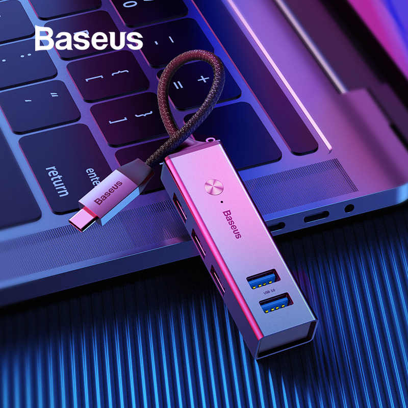 Baseus 5 portów USB C HUB do 3.0 rodzaj USB C dla MacBook pro typ C HUB 3.0 USB HUB dla DELL ThinkPad ASUS LED koncentrator micro USB