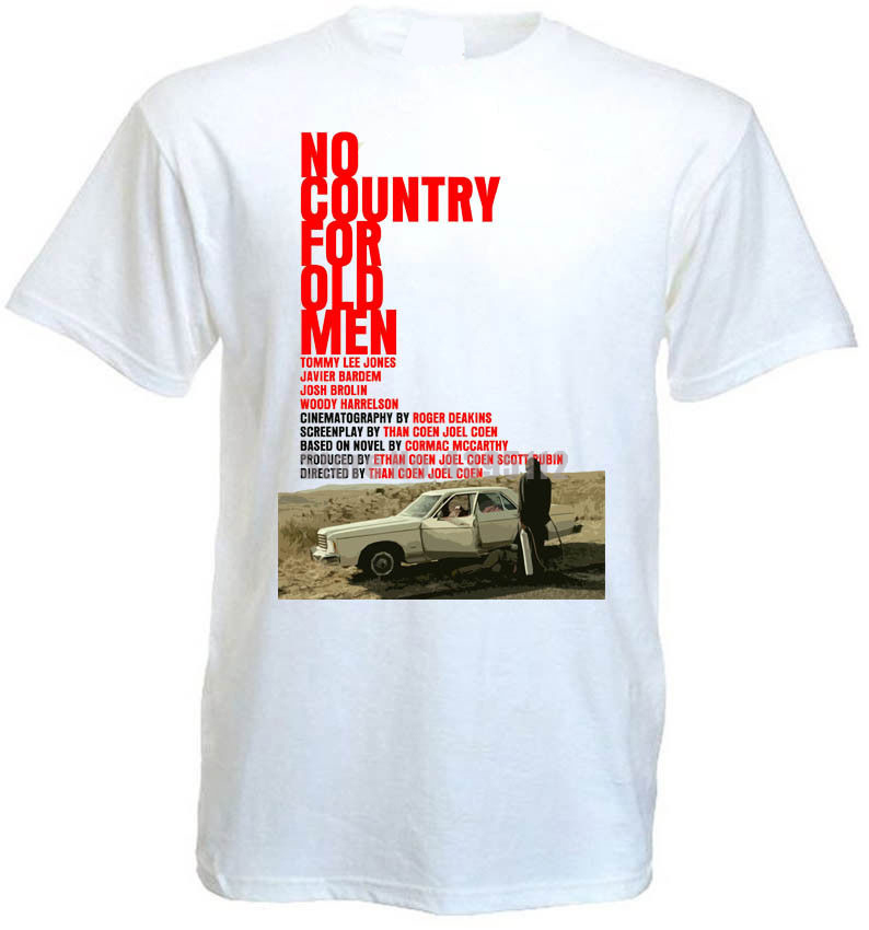No Country For Old Movie Poster Coen Brothers Men White Shirts Cccp Ussr T Shirts Cotton Tshirt Gothic T-Shirt Rhunvr image