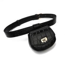 Belt Crocodile-Pattern Pack Detachable-Pouch Waist-Bags Female Designer Women 389 Decoration