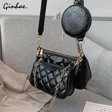 Luxury Diamond Lattice Chain Shoulder Bag Set For Women PU Leather Plaid Handbags And Purses Vintage Solid Flap Bolsos Mujer