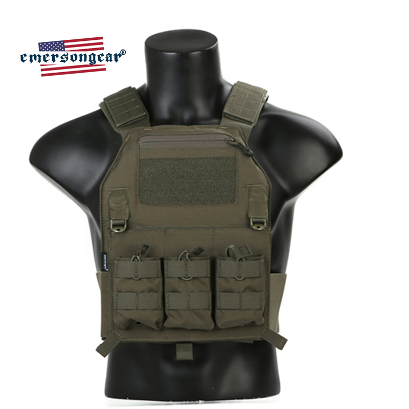 Emersongear Tactical Vest Plate-Carrier Protective-Gear Paintball Body-Armor Ranger Green title=
