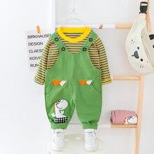베이비 보이즈 여자 옷 오크 스트라이프 티셔츠 + 전체 정장 아이 드레스 1 2 3 4 years children clothes suit dinosaur