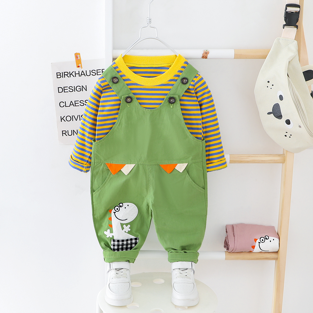 Baby Boys Girls Clothes O-neck Striped T-shirt + Overall Suits Kids Dress 1 2 3 4 Years Children Clothes Suit Dinosaur