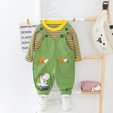 Baby Boys Girls Clothes O neck Striped T shirt + Overall Suits Kids Dress 1 2 3 4 Years Children Clothes Suit Dinosaur