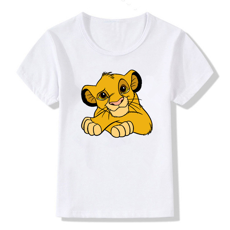 Kids T-Shirt Short-Sleeve Lion Cartoon Summer White Casual New Cute Print 1-12T Girsl title=