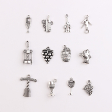 30pc/lot Metal Pendant Handmade Mixed Antique Charms Wine Glass Decoration For Women Jewelry DIY Making Necklace Bracelet