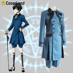 Earl ciel phantomhive azul cosplay traje anime kuroshitsuji cosplay conjunto preto mordomo cosplay medieval do vintage renascentista wear